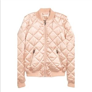 H&M Rose Gold Pink Satin Quilted Bomber Jacket